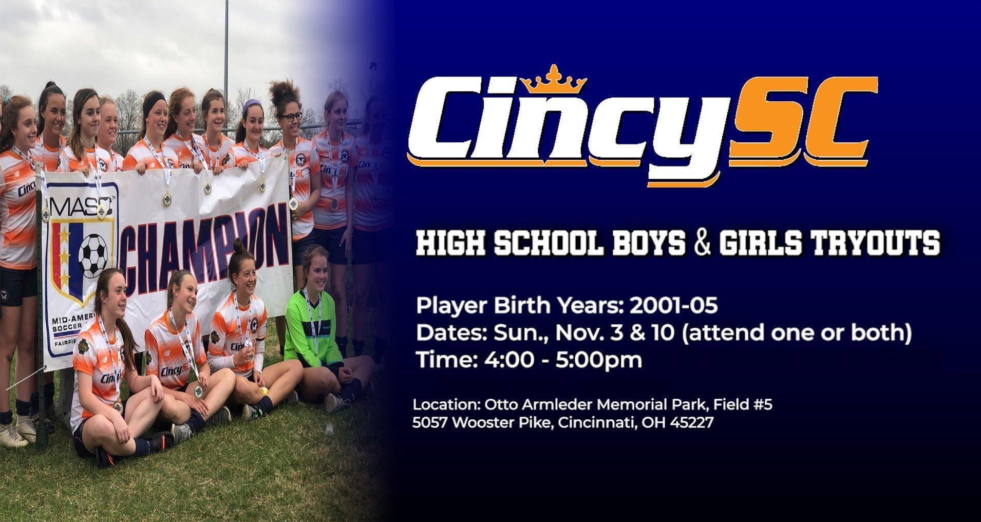 Cincy SC HS Girls Tryouts 2019