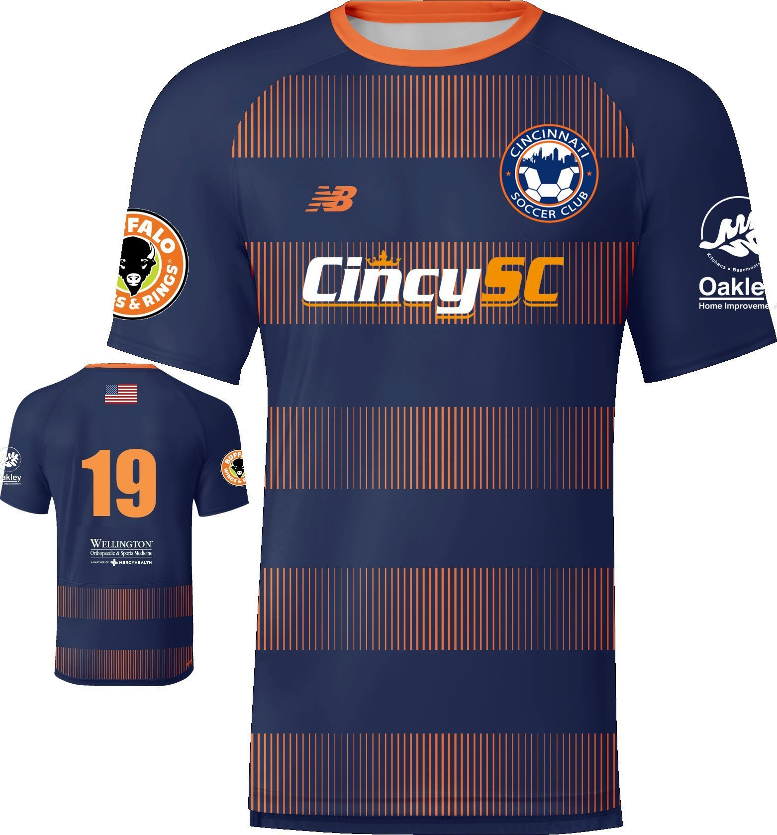 Cincy SC 2019-21 Navy Jersey with Buffalo Wings & Rings, Oakley Home Improvement, and Wellington Orthopedic sponsors.