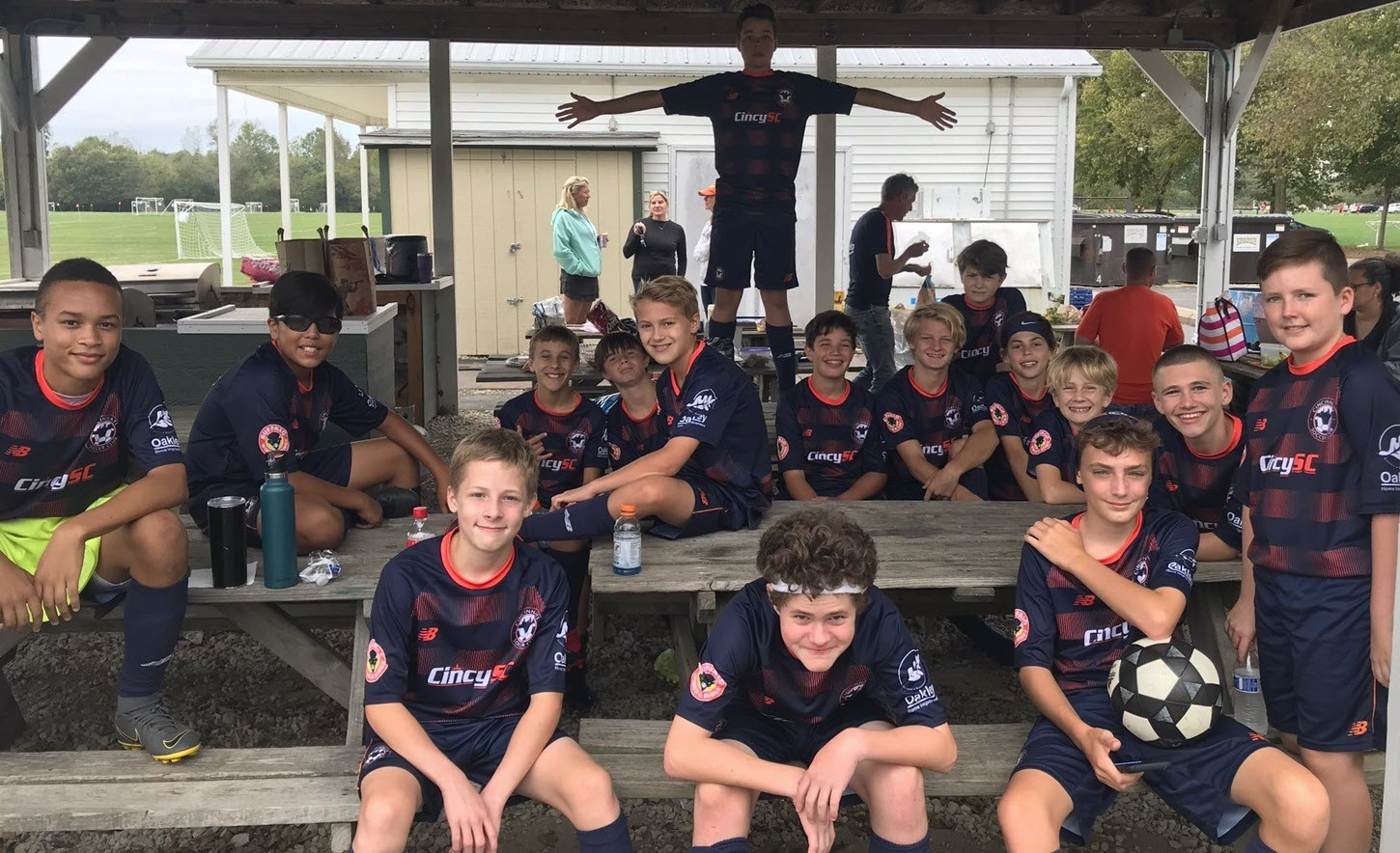 Cincy SC '06 boys in their navy jerseys.