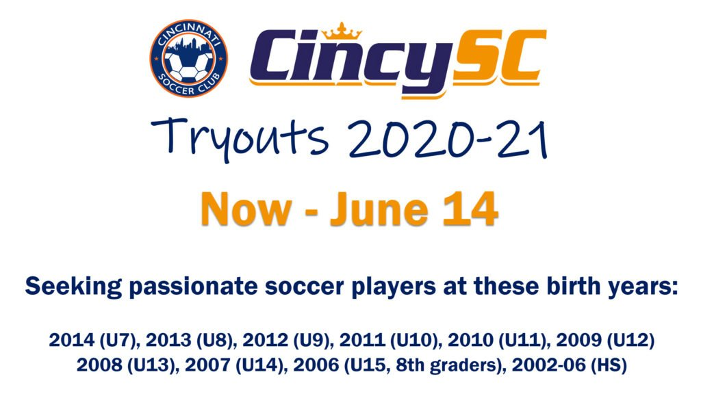 Cincy SC Tryouts 2020-21 Announcement