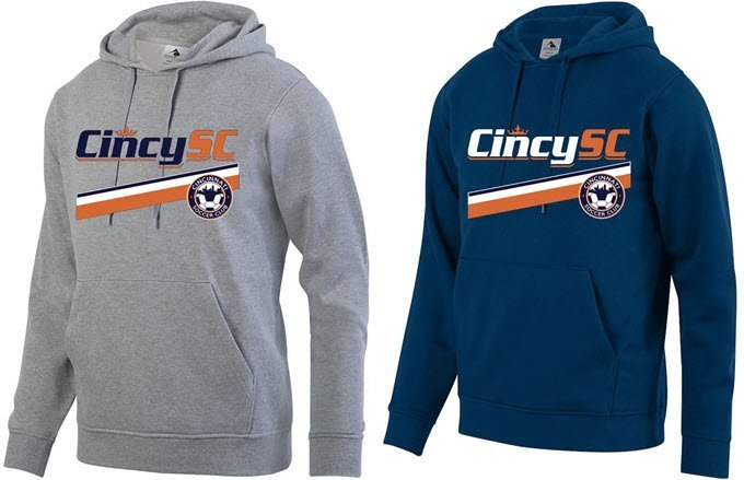 Gray and Navy hoodies with Cincy SC stripes graphic